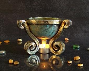 raku pottery Essential Oil Diffuser, ceramic oil burner, Aromatherapy burner, ceramic tea light burner, witches cauldron, oil warmer