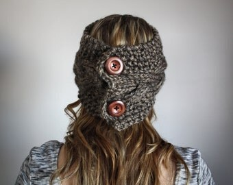 """FLASH SALE / Cable Knit Head Wrap and Cowl / Chunky Headband / Button Cowl / The """"Kristy"""" Cable Knit Wrap"""