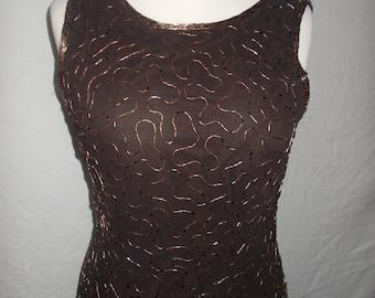 Vintage evening dress 90s St Bernard Chocolate Brown Beaded full length maxi evening dress size medium large