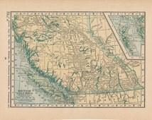 1923 Antique Map of British Columbia & Alberta Canada