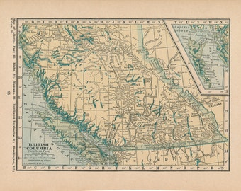 1923 Antique Map of British Columbia & Alberta Canada