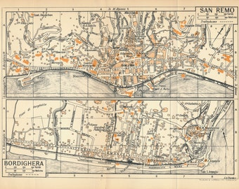 1953 San Remo and Bordighera Italy Antique Map