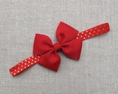 Red and Gold Polka Dot Headband, Headband with Bow, Grosgrain Bow, FOE Elastic, Baby, Toddler, Girl, Holiday, Christmas, Outside the Loop