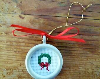 Mini Cross Stitch Wreath Christmas Ornament