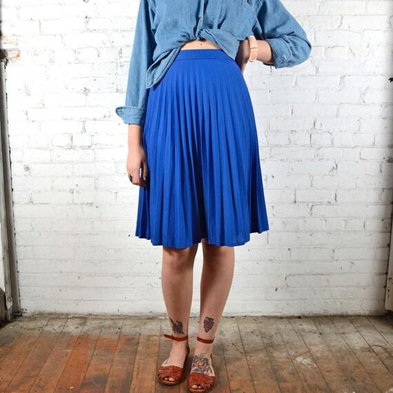 vintage 1970s royal blue pleated a line skirt