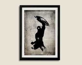 All Black Silhouette Superhero Captain America Poster Print