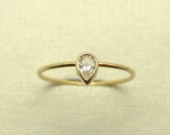 Engagement Diamond Ring - Pear Diamond Ring - 14k Gold Ring - Gold Diamond Ring - Engagement Gold Ring