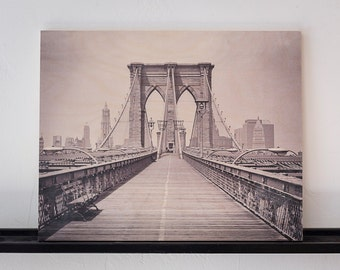 Black and White Vintage Photograph Printed on Wood
