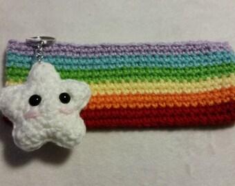 Rainbow Pencil Case, Crochet Pencil Pouch Colorful Bright Multicolored Bag