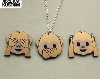 Emoji monkey necklace