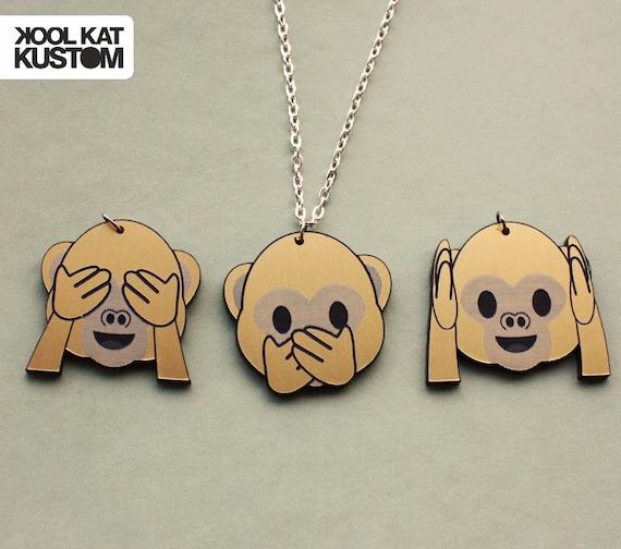 Emoji monkey necklace