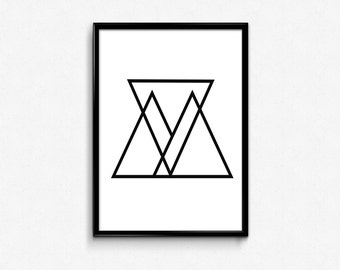 Geometric Triangle Art, Geometric Print, Triangle Print, Black and White, Black and White Triangle, Geometric Triangle, Minimalist Print