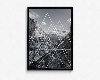 PRINTABLE Art Geometric Triangle Mountain Print Mountain Art Geometric Triangle Art Geometric Wall Art Minimalist Triangle Print
