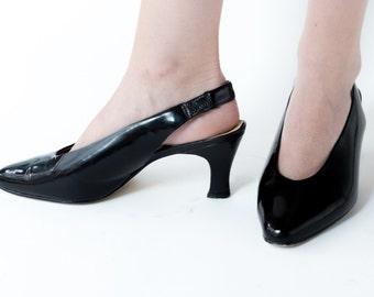 Vintage 80s Black Patent Sling Back Heels | Size 6.5 | Vegan Pumps | Retro 1980s Women's Shoes