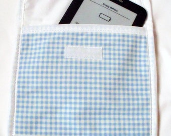 """tablet sleeve, E reader case, fabric kindle cover, universal cover internal size  8"""" L x 7"""" D for smaller devices, protective pouch"""
