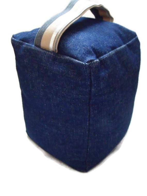 Square Denim Door Stop With Handle Cubed Weighted Door Stop