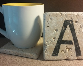 Set of 4 Monogram Travertine Stone Coasters
