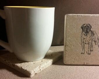Set of 4 Mastiff Tumbled Stone Coasters