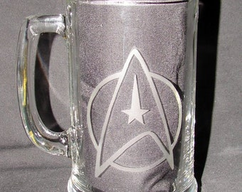Star Trek StarFleet Command Logo Hand Etched on Beer Mug or Pint Glass