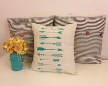 Turquoise Arrow Pillow, Burlap Pillow, Arrow Fabric, Arrow Decor, Throw Pillow, Decorative Pillow, Turquoise Decor, Arrow Pillow