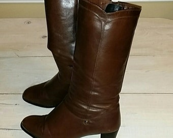 ladies boots - brown leather boots-juhani palmroth - vintage boots - high heel boots - tall boots