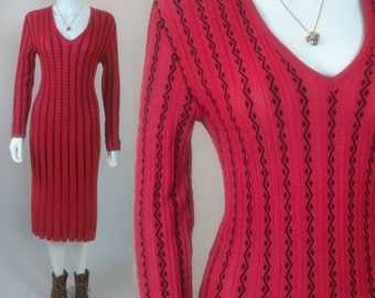 70s pleated vertical knit fluted flared column dress