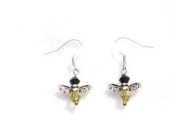 Bee earrings, Bumblebee earrings, yellow earrings, insect earrings, bee jewellery, bee, bumble bee, spring gift