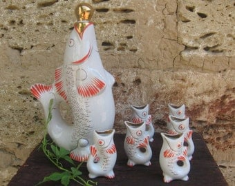 Soviet vintage decanter/ porcelain Fish Set / pitcher with 6 Shot Glasses / carafe / Russian home decor