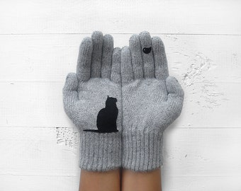 EXPRESS Shipping, MOTHER'S DAY Gift, Cat Gloves, Cats, Birds, Pet Lovers, Mother Gift Idea, Winter Gift, Gift For Her, Cat Lovers, Mom Gift