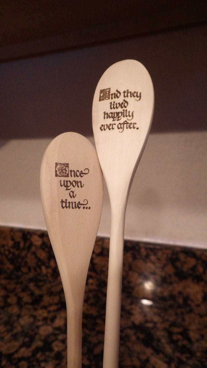 Solid Wood Spoon With Woodburning Design Once Upon A Time And