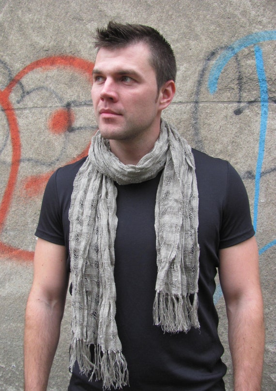 items similar to mens scarf gray linen scarf