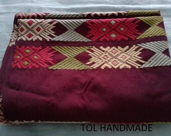 Vintage Burmese textiles, Tablecloth, Tube skirt, decorative art, hand weaving