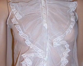 Gorgeous Victorian Sleeveless Jabot Made of English Netting and Lace