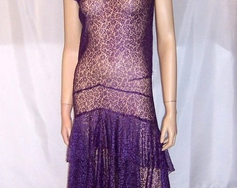 1920's Art Deco Aubergine Lace Gown with Double Ruffled Skirt