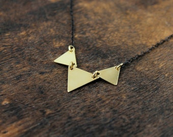 Triple Triangle Mixed Metal Necklace • Geometric • Layering Necklace • Gunmetal • Minimal • Dainty Gold Necklace • 14 Kt Gold Fill