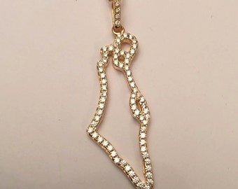 Israel map necklace, Israel necklace, Israel Pendant Jewish jewelry , Judaica , Bar/ Bat Mitzva Gift