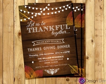 Thanksgiving  Dinner Invitation Card. Give Thanks/Fall/Autumn/Leaves/Thankful #H1003