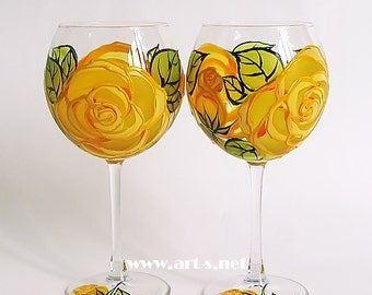 Set of 2 Hand Painted Wine Glasses- Yellow roses pattern. Gift for her. Flowers. Roses. Wedding glasses. Birthday glasses. Mother's day gift