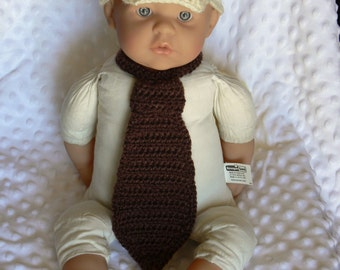 Brown/Cream Crocheted Paperboy Hat & Tie..
