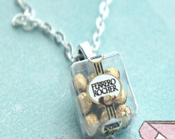 Ferrero Rocher Necklace- miniature food jewelry, chocolate necklace, food necklace