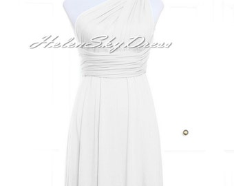 White Bridesmaid Dress Infinity Dress White short Knee Length Wrap Convertible Dress