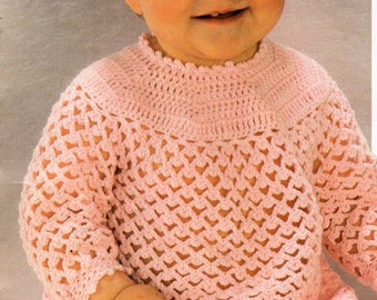 Baby Crochet Pattern Baby Crochet Angel Top Baby Crochet Dress Baby Girls Crochet Pattern 4 Ply Dress 18-20 inch 4 Ply PDF Instant Download