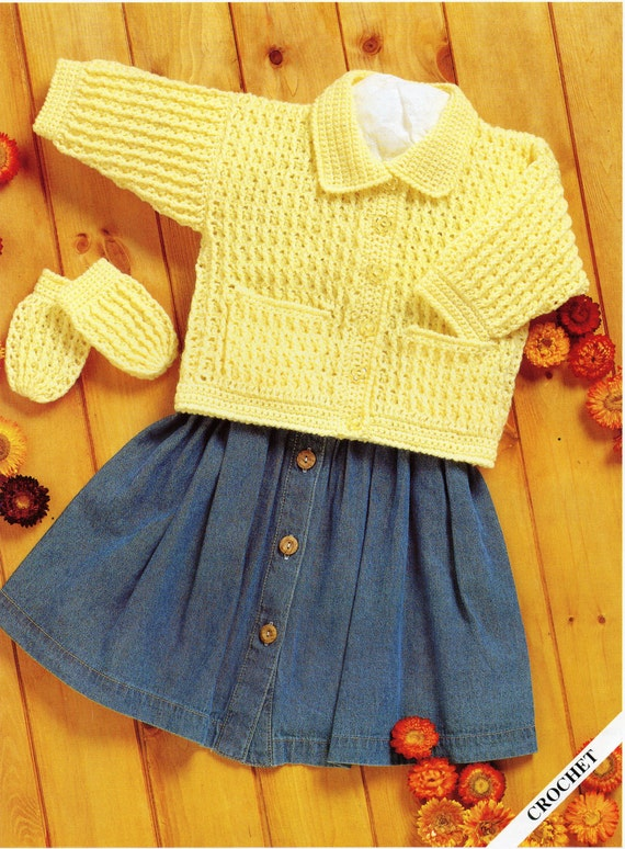 Premature Baby Crochet Cardigan Pattern : Baby CROCHET PATTERN crochet jacket & mitts baby crochet