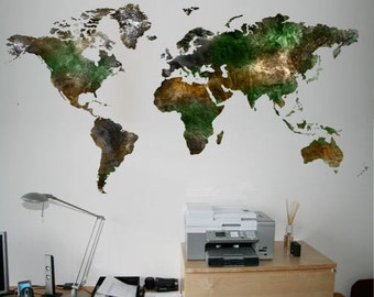 World Map Satellite Decal Sticker - Satellite Decals - World Map Stickers - Also available as Poster