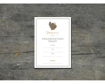 Thanksgiving Fill In Invitation - DIY