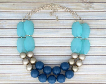 Navy Blue Statement Necklace, Bib Necklace w/ Gold or Silver Chain, Color Block Colorblock Multi Layer Chunky Beaded Necklace Blue Jewelry