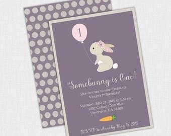 Bunny Birthday party Invitation, Somebunny is One Invite, Bunny shower Invite, 5 x 7 DIY Printable PDF or JPEG, Mint, Pink, Purple, Rabbit
