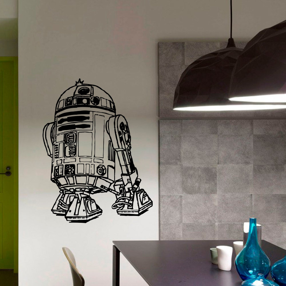 wall decals vinyl sticker decal star wars r2d2 robot wall. Black Bedroom Furniture Sets. Home Design Ideas