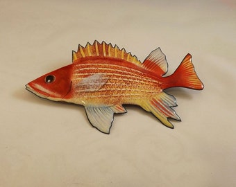 Enamel on Copper Longjaw Squirrel Fish (Squirrelfish) Wall Sculpture, Indoor or Outdoor Art