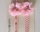 Two pink and chiffon elastic headbands - arrow headband - polka dot headband - chiffon and rhinestones